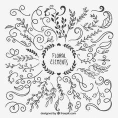 Dibujado a mano elementos florales