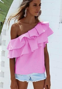 e29bcdc89299cd Pink Striped Asymmetric Shoulder Cascading Ruffle Short Sleeve Blouse.  Ladies TopsLadies ShirtsCasual Tops For WomenBlouses ...