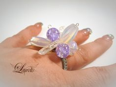 quartz glass fashion ring  violet and blue by Laurelisbijoux, $8.99