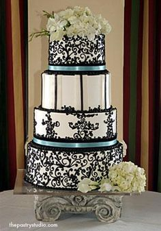 Keena - Scrolled Wedding Cake with Hydrangea by The Pastry Studio Daytona Beach FL Beautiful Wedding Cakes, Gorgeous Cakes, Amazing Cakes, Dream Wedding, Polka Dot Cakes, Damask Wedding, White Cakes, Cake Gallery, Cupcake Cookies