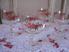 """4 Verres à pied Arcopal France motif """"Petites roses"""" / Vaisselle française…"""