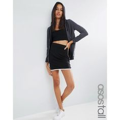 ASOS TALL Mini Skirt With Dolphin Hem ($17) ❤ liked on Polyvore featuring skirts, mini skirts, black, short skirts, jersey mini skirt, bodycon skirt, short bodycon skirt and short mini skirts