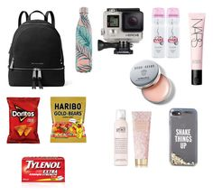 """""""whats in my Coachella bag"""" by isabelvsacre on Polyvore featuring MICHAEL Michael Kors, S'well, Kate Spade, Evian, GoPro, philosophy, AERIN, Bobbi Brown Cosmetics and NARS Cosmetics"""