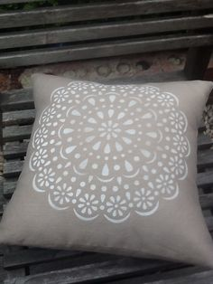 """NEW!  Handmade + individually hand painted cushion by Claire Webber, Hobart, Tasmania,  """"White Doily"""" on natural linen 36cm.  For more info email:  webberclaire1@gmail.com"""