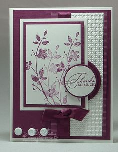 Watercolor Trio in Rich Razzleberry    Stamps: Watercolor Trio  Paper: Rich Razzleberry Textured, Whisper White  Ink: Rich Razzleberry  Accessories: Ribbon, Brads, Circle Punches