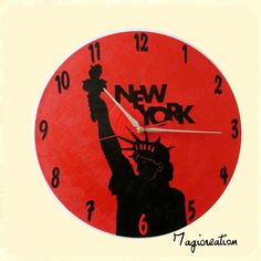 Horloge statue de la liberté en rouge et noir Clock, Paris, Etsy, Vintage, Wall, Wall Art, Handmade Gifts, Red, Black People