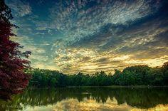 Sunset at Lake Tomahawk in Black Mountain, NC