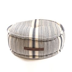 005a3806055f Striped Cotton Pouf with Handle - Sugarboo and Co Floor Pouf