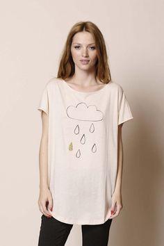 t-shirt m. courtes Hallie cream 100% Pima coton - tee shirt Femme - Des Petits Hauts