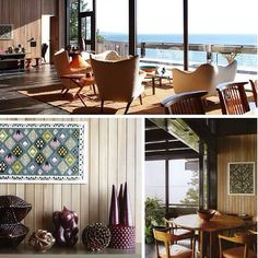 Scandinavians have a deep-rooted love of nature, and their twentieth-century textile designers were no exception. Their much-loved summer months may be short, but they nevertheless found a way to bring nature indoors. In this stunning living room in a mid-century house designed by a noted AD100 architect Alan Wanzenberg, vintage Swedish wall hangings from @fj_hakimian Gallery hang above Axel Salto vases and natural wood-grain furniture