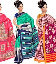 Buy multicolor printed bhagalpuri silk saree with blouse sarees-combo-sari online