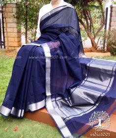Navy Blue Mangalgiri Handloom Cotton Saree with Silver Border
