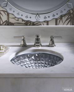 Kohler Ice Artist Editions Kallos Spun Glass x Undercounter Bathroom Sink Glass Bathroom Sink, Undermount Bathroom Sink, Glass Vessel Sinks, Kohler Bathroom, Upstairs Bathrooms, Large Bathrooms, Downstairs Bathroom, Master Bathroom, Contemporary Bathrooms