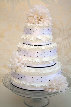 Frilly black and white wedding cake by The Cake Boutique, via Flickr