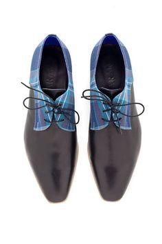 Oxford Damenschuhe blaue plädieren Stoff mit Black von ARAMAshoes, $230.00