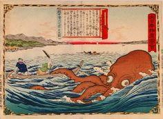 utagawa-hiroshige-iii-1842-1894 Hunting the giant octopus of Namekawa in Ecchu province from the series Dai Nippon Bussan Zue.