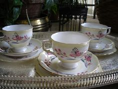 vintage bone china tea cups saucer tea sets Colclough  floral yellow and pink Bone China Tea Cups, Tea Sets, Tea Cup Saucer, China Porcelain, Vintage Shops, Yellow, Tableware, Floral, Pink