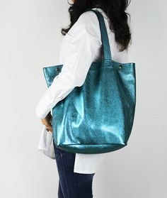 Large Metallic Leather Tote Bag/ Turquoise Blue by NeroliHandbags