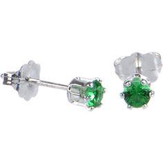 Sterling Silver 3mm Green (May) Cubic Zirconia Stud Earrings #bodycandy #earrings #green $6.99
