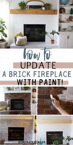 Learn how to update a brick fireplace with just a little work! This fireplace makeover is clean and modern! Brick Fireplace, Painting Furniture Diy, Fireplace Design, Wood Home Decor, Home Decor, Home Diy, Decorating Your Home, Fireplace, Diy Fireplace