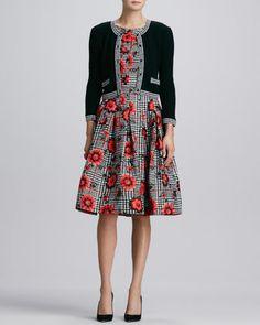 Cloque-Trim Knit Jacket & Floral-Houndstooth Cloque Dress by Oscar de la Renta at Neiman Marcus.