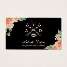 Makeup Artist Hair Stylist Modern Black Gold Business Card - Hair stylist business cards templates
