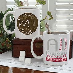 PMall has the cutest Personalized Coffee Mugs! This one is the Personally Yours design ... you can pick from the 2 different design styles and then pick any color combo you want! It's only $12.95 at PMall! #Coffee #Office #Work #Mug