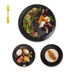 Collection Automne-Hiver 2016-2017.   Menu A1 - Veau en cuisson longue, bouillon de champagne aux herbes fraîches, jeu de légumes miniatures - 65,00€ HT.