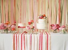 English Countryside Wedding, dessert table, wedding cake, coral flowers, streamers, ribbon, bouquets