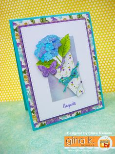 Card created with Fill it with Flowers by Melanie Muenchinger, for Gina K designs. Go to my blog post here http://waltzingmouse.blogspot.co.uk/2016/05/gina-k-designs-may-inspiration-blog-hop.html to see how-to pics. This set is available from Gina K Designs, here: http://www.shop.ginakdesigns.com/ #Gkd #stamping #cardmaking #crafting #papercrafts