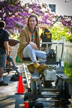 "Wes Anderson on the set of ""Moonrise Kingdom"""