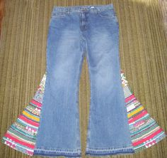 Hippie Bell Bottom Jeans OOAK Vintage High Rise Colorful Boho