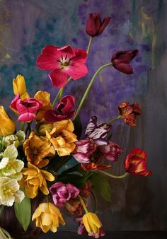 Cold Porcelain Flowers, Tulips, Bloom, Painting, Art, Art Background, Painting Art, Kunst, Paintings