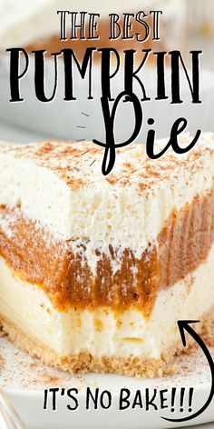 No Bake Pumpkin Pie, Baked Pumpkin, Pumpkin Dessert, Pie Dessert, Pumpkin Recipes, Fall Recipes, Sweet Recipes, Holiday Recipes, Dessert Recipes