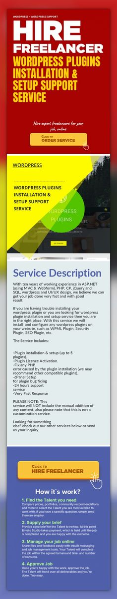 Wordpress Plugins Installation & Setup Support Service WordPress, WordPress Support   With ten years of working experience in ASP.NET (using MVC & Webform), PHP, C#, jQuery and SQL, wordpress and UI/UX design, we believe we can get your job done very fast and with good result.    If you are having trouble installing your wordpress plugin or you are looking for wordpress plugin installation and...