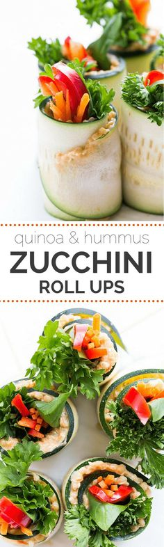 My newest FAVORITE snack >> Zucchini Roll Ups with quinoa, hummus and fresh veggies | gluten-free + vegan | recipe on simplyquinoa.com Vegetarian Recipes, Cooking Recipes, Healthy Recipes, Zucchini Rolls, Recipe Zucchini, Healthy Snacks, Healthy Eating, Snacks Saludables, Vegan Gluten Free