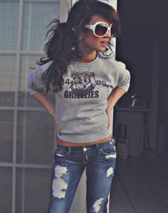 Crewneck-- I love wearing sweatshirts, and she does while still looking cute....