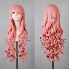 Mcoser Multi-colors Cosplay Wig Long Curly Hair Heat Resistant Cosplay Anime Hair Wigs for women (Pink) Curly Wigs, Long Curly Hair, Curly Hair Styles, Hair Wigs, Blue Hair Highlights, Pink Wig, Ombre Wigs, Long Wigs, Lace Hair