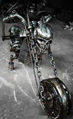 skull motorcycle with chain forks Skull Motorcycle, Chopper Motorcycle, Custom Choppers, Custom Harleys, Custom Street Bikes, Custom Bikes, Arte Peculiar, Motos Harley Davidson, Pt Cruiser