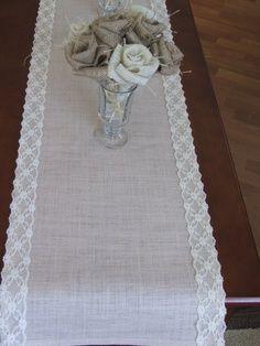 burlap & lace runner with burlap roses