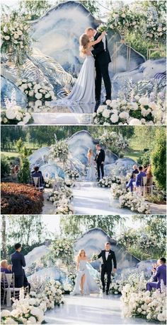 15 Dreamy Wedding Ceremony Ideas for A Fairytale Affair - Belle The Magazine Wedding Ceremony Ideas - via Caramel Weddings Wedding Stage, Wedding Events, Dream Wedding, Wedding Blue, Summer Wedding, Crystal Wedding, Dusty Blue Weddings, Wedding Ceremony Decorations, Ceremony Backdrop