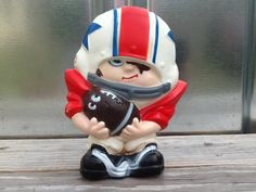 Vintage SPORT SKWIRTS Frankie Fumble Football Coin Bank