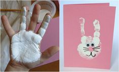 handabdruck-bilder-kinder-ostern-hase-weiss-wackelaugen-grußkarte autour du tissu déco enfant paques bébé déco mariage diy et crochet Bunny Crafts, Easter Crafts For Kids, Toddler Crafts, Preschool Crafts, Toddler Activities, Children Crafts, Easter Decor, Preschool Winter, Easter Activities
