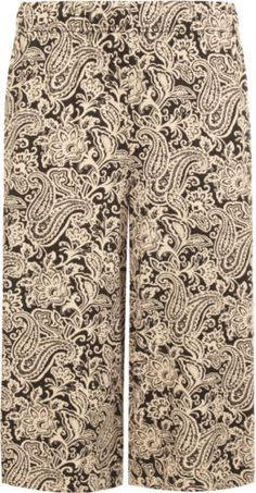 Womens-Plus-Size-Abstract-Paisley-Print-Wide-Leg-Culottes-Ladies-Shorts-12-30