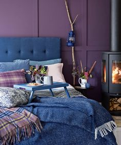 Modern Purple Bedroom With Button Back Headboard And Blue Upholstery regarding size 850 X 1080 Purple And Navy Blue Bedroom - Small bedrooms mustn't be Blue Purple Bedroom, Mauve Bedroom, Navy Blue Bedrooms, Blue Master Bedroom, Purple Rooms, Home Bedroom, Bedroom Decor, Bedroom Ideas, Purple Bedroom Design