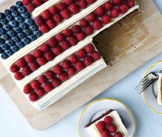 July 4th Flag Cake I switch strawberries for raspberries and this cake is AMAZING! Baked it last year and I need a repeat performance this year.
