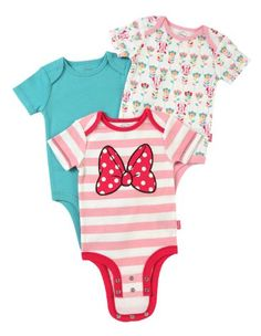 Disney Cuddly Bodysuit with Grow an Inch Snaps, Minnie Mouse Classic Bow 3 Pack - Listing price: $12.99 Now: $11.62 + Free Shipping