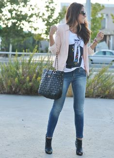 Cream jacket blue jeans graphic tee. Teen fashion style love.
