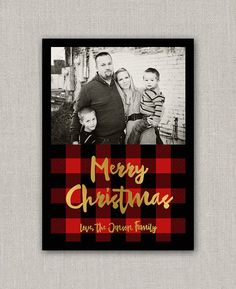 photo christmas card template buffalo plaid deer silhouette merry