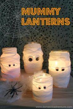 So cute! A mummy lantern family. :-) {Halloween} Mummy Lanterns   Domestic Adventure